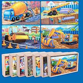 Hộp 4 tranh ghép chủ đề xe công trình  12, 24, 36, 48 miếng