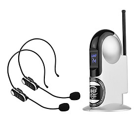 UHF Wireless Microphone System with Dual Headset Microphones and Receiver with 6.35mm Audio Cable for Video Interview