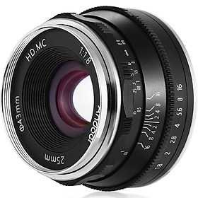 Andoer 25mm F1.8 Manual Focus Lens Large Aperture Mirrorless Camera Lens E-Mount Lens Compatible with Sony APS-C Frame