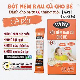 Bột nêm Cà Rốt dành cho bé ăn dặm VABY Hộp 48g (6 gói x 8g) - Gia vị nêm và rắc dành cho bé từ 6 tháng tuổi