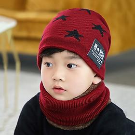 Set Mũ + Khăn Choàng Ấm Áp In Hình Ngôi Sao Cho Trẻ Em