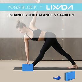 Lixada 2 Pack Yoga Blocks with Yoga Strap EVA Foam Exercise Yoga Blocks Bricks Set for Stretch Flexibility Alignment-2