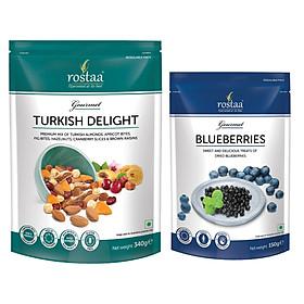 Combo Blueberries 150gr và Turkish Delight 340gr - Rostaa mixed nuts - ngũ cốc hoa quả trái cây sấy khô giảm cân nhập khẩu