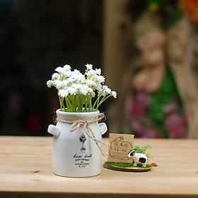 Chậu sứ hoa giả hình tai thỏ màu Trắng 1040