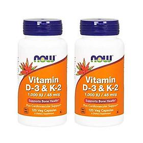 Viên Uống Now Bổ Sung Vitamin D-3 & K-2 (120 Viên x 2 Hộp)