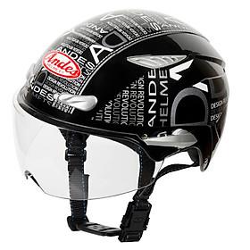 Mũ Bảo Hiểm Andes 1/2 Đầu Có Kính 3S126DB Tem Bóng - W166 Đen Phối Trắng