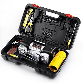 Máy bơm lốp ô tô 2 xilanh Air Compressor, Đèn LED, Có hộp đựng, bộ dụng cụ
