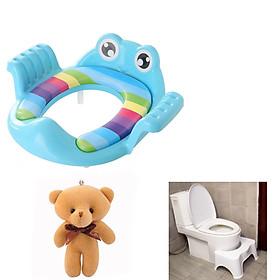 [ COMBO TIẾT KIỆM ] Bệ Thu Nhỏ Bồn Cầu Hình Ếch Có Tay Vịn + Ghế Kê Chân Toilet Chống Táo Bón Và Các Bệnh Về Đường Tiêu Hóa Cho Trẻ Nhỏ Và Người Già - Tặng 1 gấu bông mini