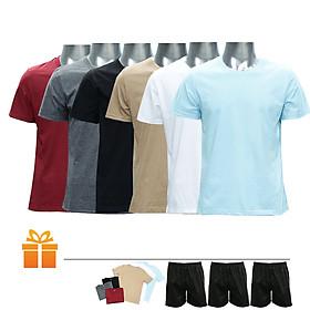 Bộ 6 áo thun cổ tròn nam và 3 quần đùi | TẶNG: 6 áo thun cổ tròn nam và 3 quần đùi