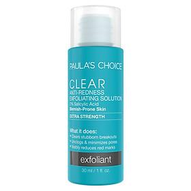 Toner Trị Mụn, Tẩy Da Chết Chuyên Sâu Paula's Choice Clear Extra Strength Anti-Redness Exfoliating Solution (30ml)