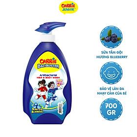 Sữa Tắm Gội Sạch Khuẩn Carrie Junior BacBuster Hương Blueberry 700G