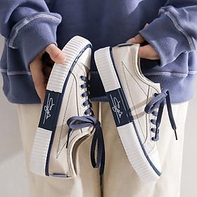 Giày vải nữ độn đế Siêu êm chân 3 màu kem, đen, tím Hot trend