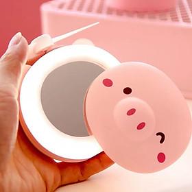 Quạt mini kèm gương và đèn Led hình dễ thương 2in 1