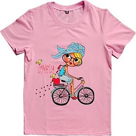 Áo thun nữ in họa tiết cô gái đạp xe lovely