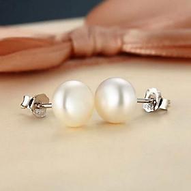 Bông tai nữ Bạc Quang Thản kiểu khuyên tai ngọc trai nhân tạo chốt đeo sát tai chắc chắn chất liệu bạc thật không xi mạ – QTBT32