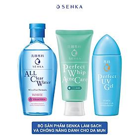 Bộ sản phẩm Senka làm sạch và chống nắng dành cho da mụn (Tẩy trang Senka White 230ml + Sữa Rửa Mặt Senka Acne 100g + Gel chống nắng Senka UV Gel 80ml)