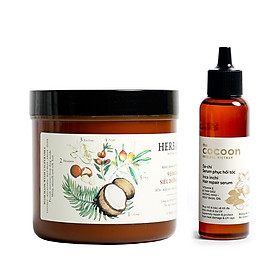 Combo kem ủ tóc herbario 500ml + Serum Sachi phục hồi tóc cocoon 70ml