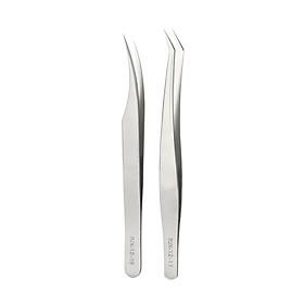 Stainless Steel Tweezers Eyelash Extension Tweezers Set Set of 2 Lash Extension Tweezers Eye Makeup Tools