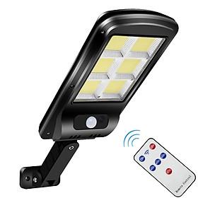 Đèn năng lượng mặt trời liền thể 120 LED COB siêu sáng (cảm biến chuyển động, cảm biến ánh sáng, công suất 60w) - có điều khiển