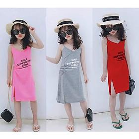 Đầm dây tăng-đơ, may nhúng hông, chẻ tà, chất cotton mềm mịn, cho bé gái 7kg-40kg - Quần áo trẻ em - SockiMall