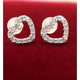 Bông tai bạc nữ đẹp hình trái tim đính đá BTN0052