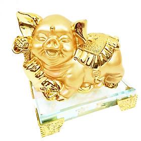 Tượng chú heo vàng đế kính thủy tinh