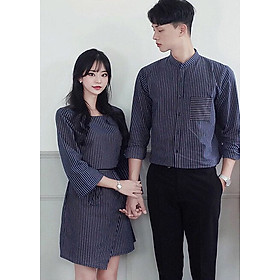 Bộ áo váy sơ mi cặp cao cấp, đồ đôi thời trang thiết kế nam nữ chất đẹp AV173