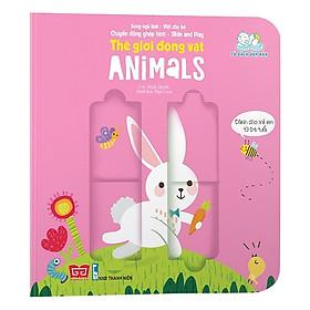 Cuốn sách giúp bé phát triển tư duy logic về vận động:  Sách Chuyển Động - Song Ngữ A-V: Baby Animals - Các Em Bé Động Vật