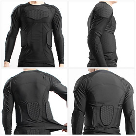 Men Padded Compression Shirt Multiple Pad Protective Gear for Football Baseball Soccer Basketball Volleyball Training-3