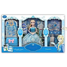 Bộ đồ chơi búp bê Elsa thay váy - Công chúa Frozen có khớp thay đổi tư thế linh hoạt - Nữ hoàng băng giá có vương niệm và quyền trượng - Váy áo và bộ đồ trang điểm với công chúa Elsa 30 chi tiết
