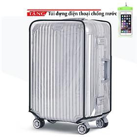 Bao trùm vali Bao hình lí nhựa trong suốt 20 - 24 -28 inch cao cấp F45 Tặng túi đựng điện thoại chống nước
