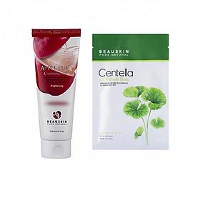 Combo Sữa rửa mặt làm sạch sâu Apple Pure Cleansing Foam và Mặt nạ tái tạo phục hồi Beauskin Centella Cica