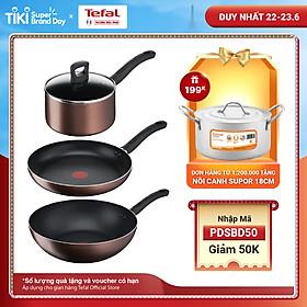Combo 3 Nồi thân cao Tefal Day By Day G1436105 22cm & Chảo chiên Tefal Day By Day G1430605 28cm & Chảo xào Tefal Day By Day G1437705 26cm - Dùng mọi loại bếp - Chấm đỏ báo nhiệt thông minh - Hàng chính hãng
