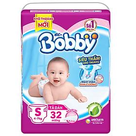 Tã Dán Bobby Siêu Mỏng Thấm Gói Trung S32 (32 Miếng)