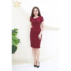 Đầm Thiết kế Đầm xòe Đầm thời trang công sở Đầm trung niên thương hiệu TTV391 đỏ đô - Đầm ôm chéo nơ trước ngực AH