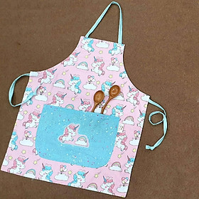 Tạp dề nấu ăn, tạp dề học vẽ handmade dùng 2 mặt hình kì lân unicorn, pony hồng  đáng yêu dành cho bé