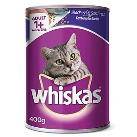 Đồ Ăn Cho Mèo Whiskas Vị Cá Thu Và Cá Mòi Lon 400g