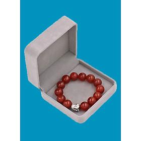 Vòng đeo tay đá Mã Não đỏ 14 ly cẩn hạt Phật A Di Đà inox bạc VMNONLT14 HỘP NHUNG - hợp mệnh Hỏa, mệnh Thổ
