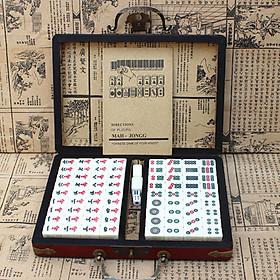 Portable Retro Mahjong Box Mah-Jong Chinese Numbered Mahjong Set 144 Tiles Mah-Jong Set Portable Chinese Toy with Box