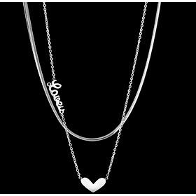Dây chuyền trái tim chữ LOVE hai tầng tinh tế thời thượng