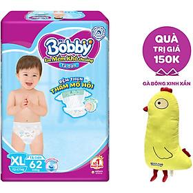 Tã Dán Bobby - Đệm Thun Thấm Mồ Hôi XL62 (62 Miếng) - Tặng 1 Gà Bông Xinh Xắn