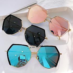 Kính mát đa giác nữ phiên bản Hàn Quốc kính râm thời trang kính đỏ mặt tròn chống tia UV