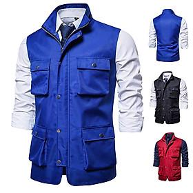 Men's Vest Autumn and Winter Casual Multi-pocket Solid Color Vest