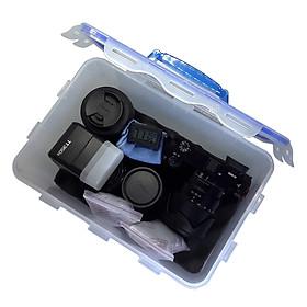 Combo hộp chống ẩm lớn, ẩm kế điện tử, 200gram hạt hút ẩm xanh, mút xốp, khăn lau lens cho máy ảnh, máy quay phim - dung tích 7.7 lít - Hàng chính hãng