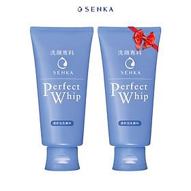 Sữa Rửa Mặt Tạo Bọt Chiết Xuất Tơ Tằm Trắng Senka Perfect Whip 120g (x2)