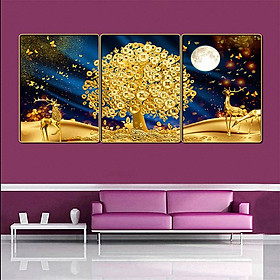 Bộ tranh treo tường 3 tấm trang trí phòng khách, phòng ngủ phong cách mỹ thuật hiện đại chất liệu cán pvc gương:4420L15S