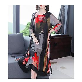 Đầm Trung niên ,đầm quý bà Bigsize, Đầm họa tiết HATI - DQB69