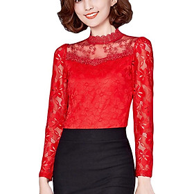 Fashion New Slim Lace Hollow Out Women's Bottoming Shirt  Novel Solid Color Plus Size