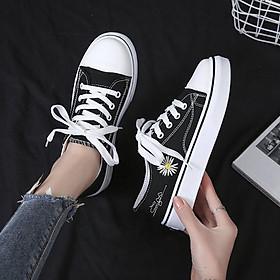 Giày thể thao nữ chất vải hình hoa cúc dây buộc cơ bản hàng FULL BOX kèm ảnh chi tiết