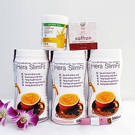 Combo 3 hộp Sữa giảm cân Hera Slimfit 500gr [Chính Hãng] - Giảm 3-7Kg/ 1 Liệu trình [Tặng 1 Sữa nghệ Hera 100g giúp giảm đau bao tử, 1 hộp Mặt nạ Saffron sữa ong chúa và 1 Thước dây]